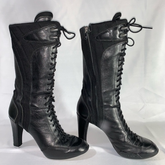b9398ba7e8 Nike Shoes | Vintage Tall Black Leather Laced High Heel Boots | Poshmark
